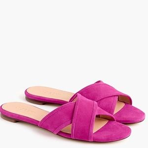 J. Crew Suede Cora Sandals in Fuscia